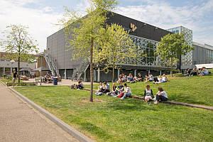 Studenten auf dem Rasen vor Windesheim Gebäude