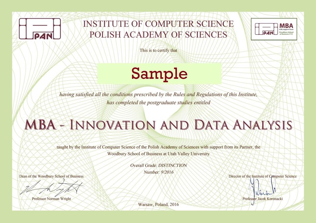 Diplom Beispiel der IPI PAN