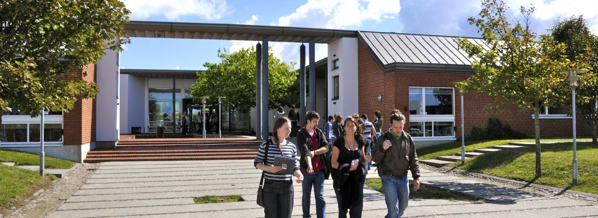 Studenten vor Gebäude