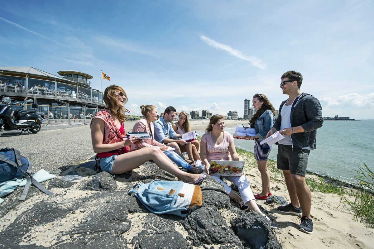Studentengruppe des Studiengangs Delta Management sitzen am Strand und lernen
